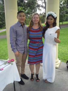 Thank you for being our celebrant! Liberty & Andrew December 2014